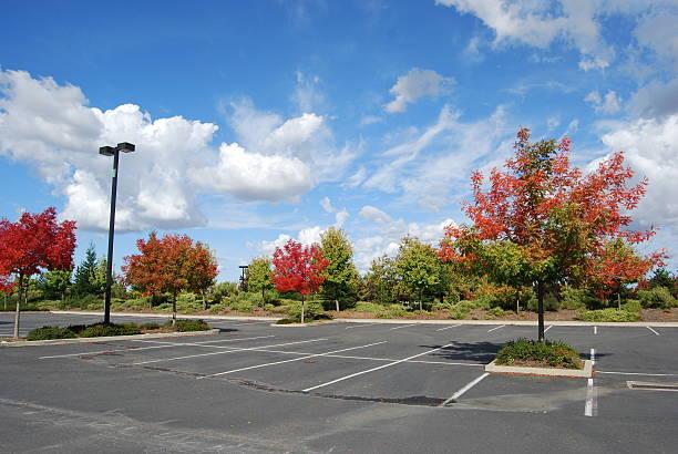 Fall Landscape in an empty parking lot stock photo