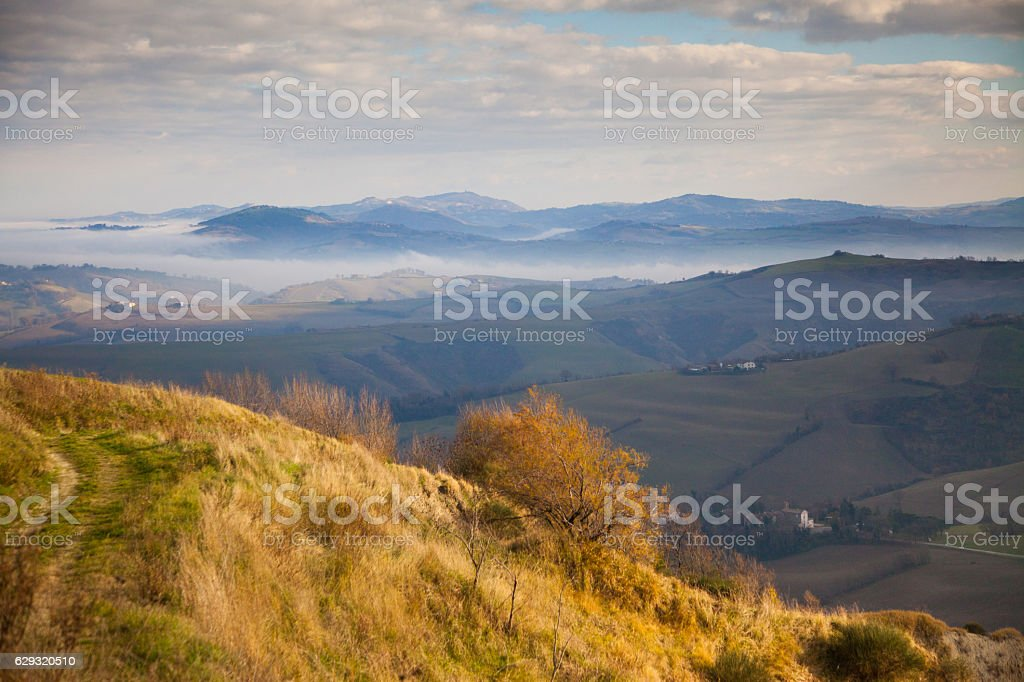 Fall landscape in the Marches, Italy stock photo