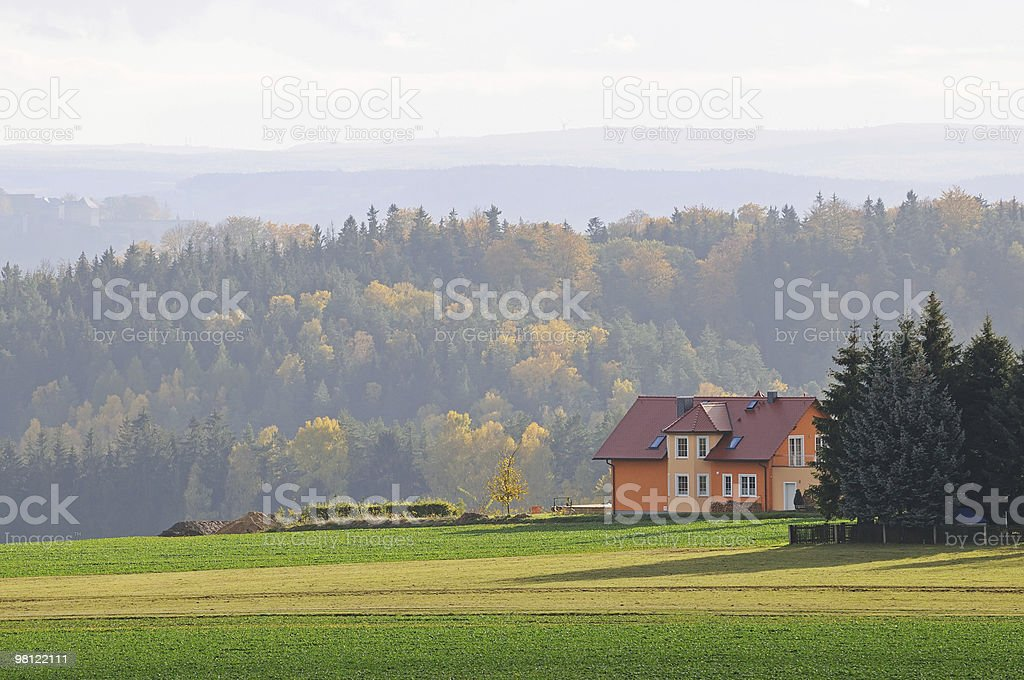 Fall landscape with lonely house royalty-free stock photo