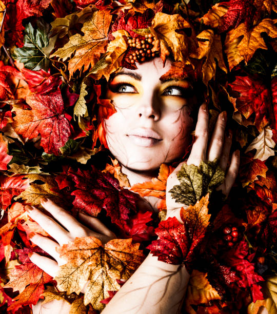Fall Leaf Makeup and Fashion stock photo