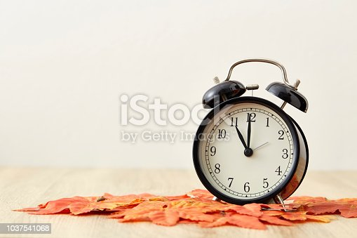 istock fall leaves and black and white alarm clock with copy-space 1037541068