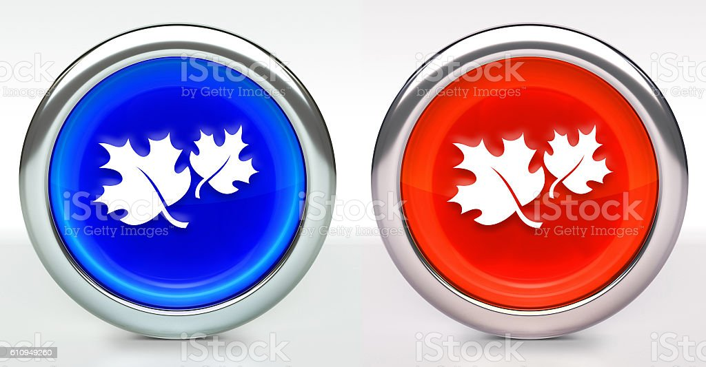 Fall Leaves Icon on Button with Metallic Rim stock photo
