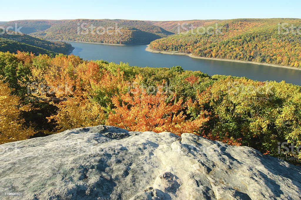 fall leaves in the Allegheny National Forest and Kinzua Reservoir royalty-free stock photo