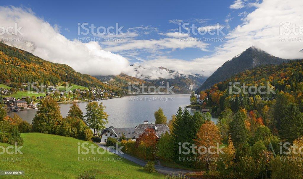 Fall Mountain Panorama Lake Grundlsee, Austrian Alps, Nature Reserve (XXXL) royalty-free stock photo