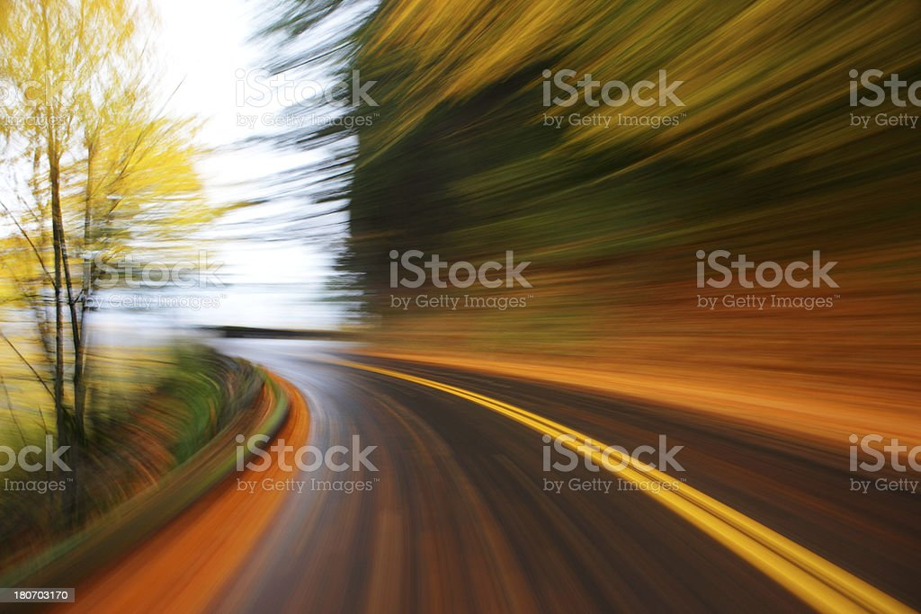Fall Mountain Road Speed. royalty-free stock photo