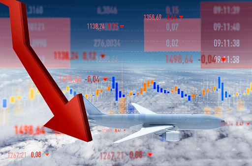 istock Fall of Airline Shares in the Stock Market 1215350424