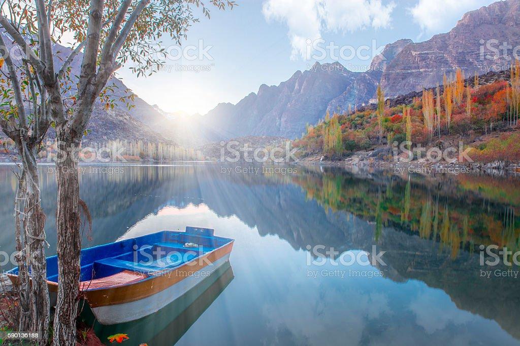 Fall of Kachura lake, Skardu stock photo