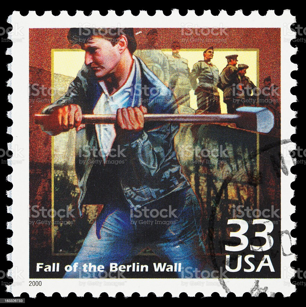 Fall of the Berlin Wall postage stamp stock photo