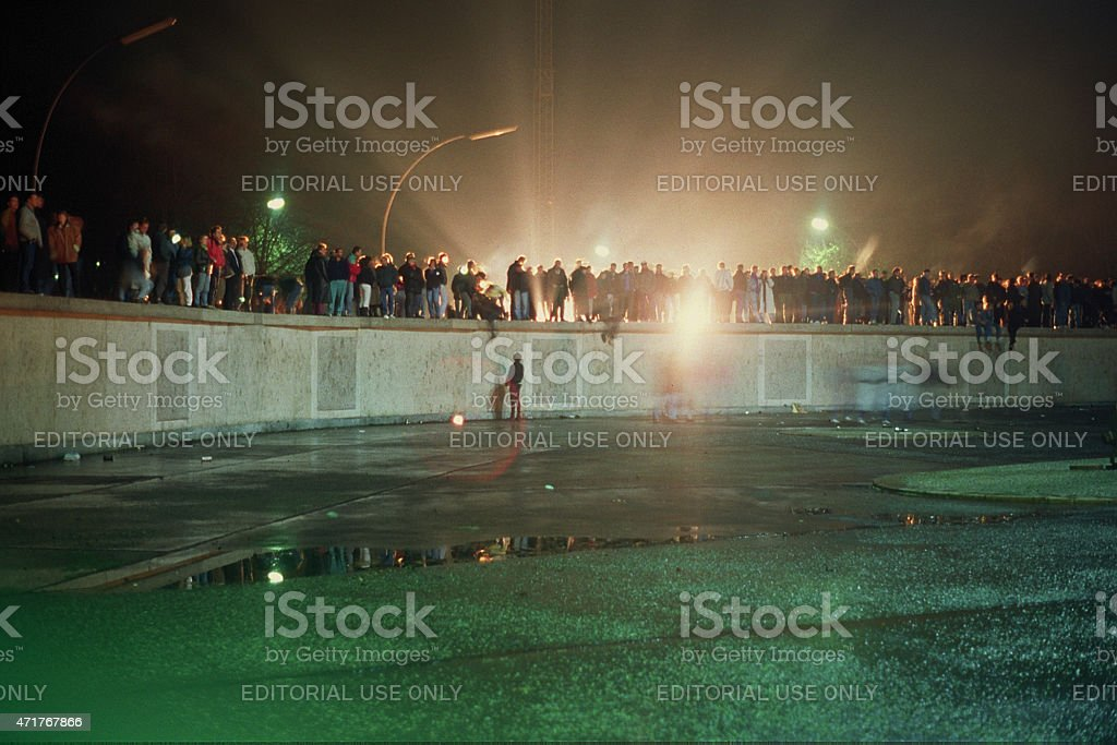 Fall of the Berliner Wall at the Brandenburger Tor stock photo