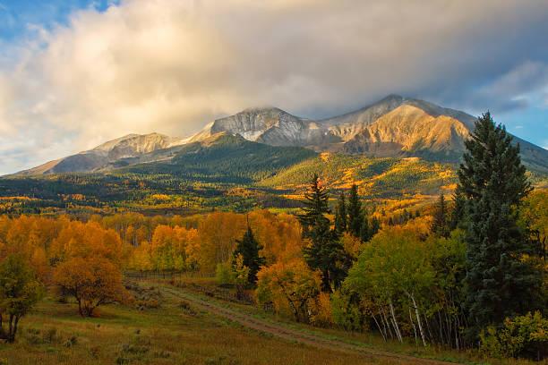 Fall on Mt Sopris stock photo