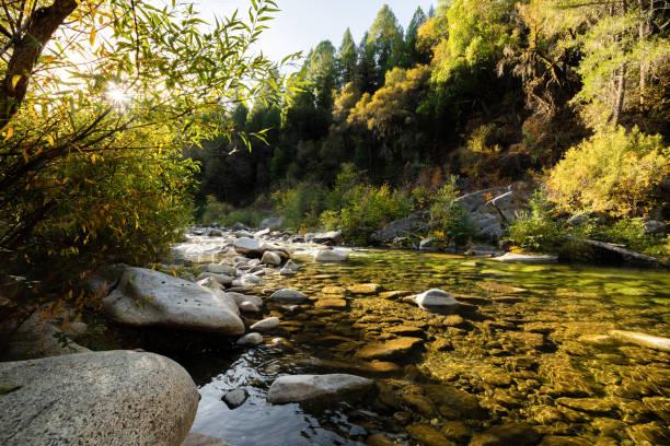 Fall on the Yuba River stock photo