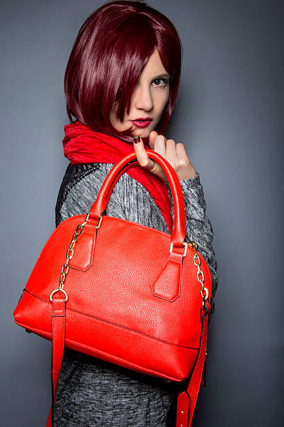 Fall or Spring Fashion Style with Red Purse stock photo