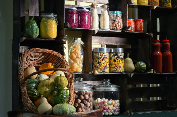 Fall Pantry with Jars With Pickled Vegetables stock photo