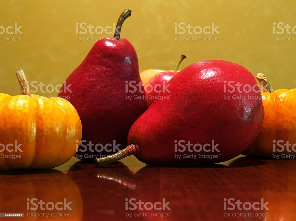 fall pears and pumpkins royalty-free stock photo