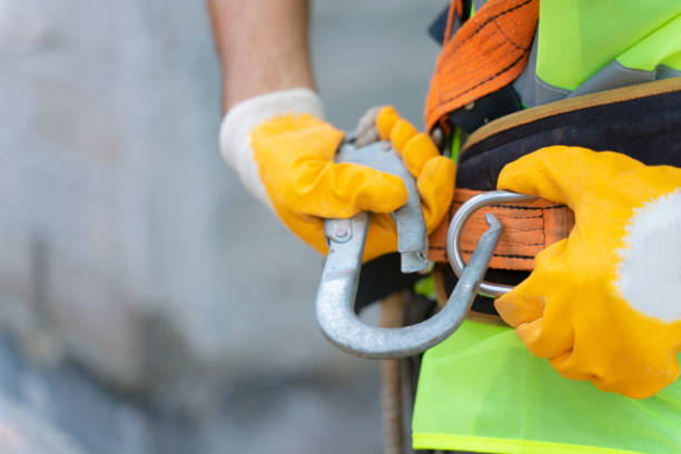 Fall Protection Systems; full harness type safety belt stock photo