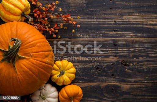 Assortment of pumpkins and gourds on a rustic black wood table with copy space.