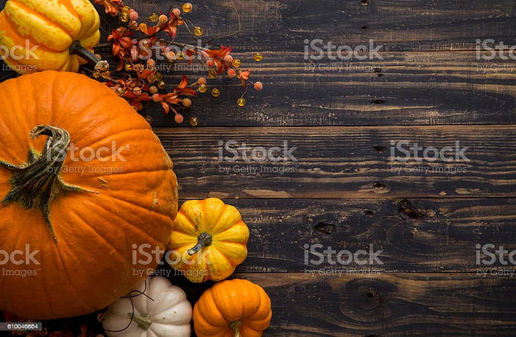Fall Pumpkin Holiday Background Stock Photo