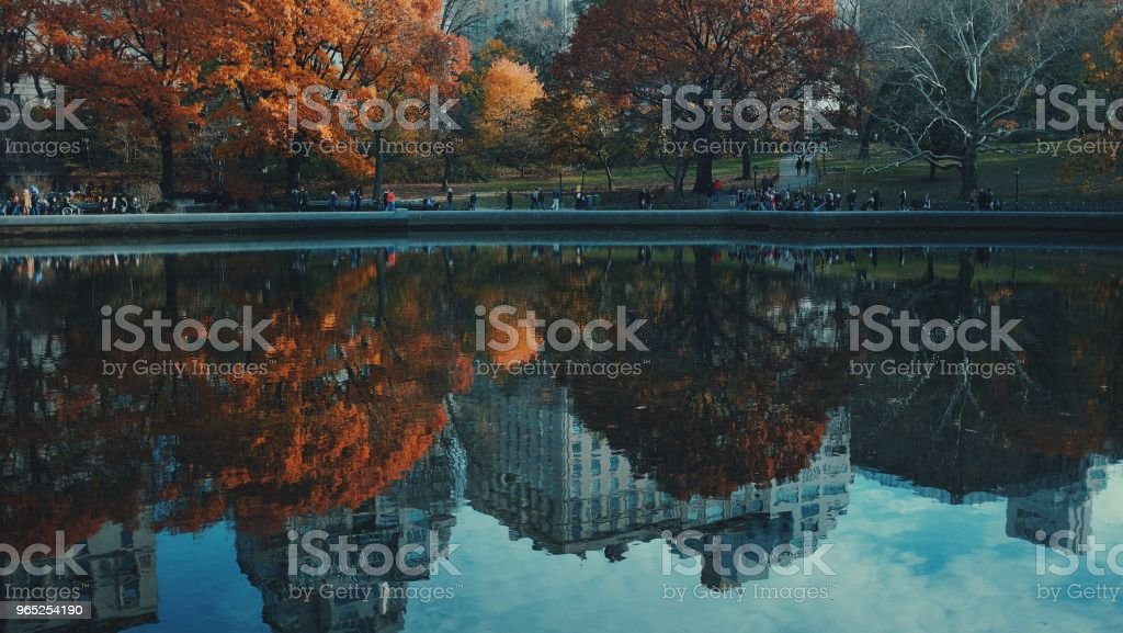 Fall Reflections in Central Park New York City zbiór zdjęć royalty-free