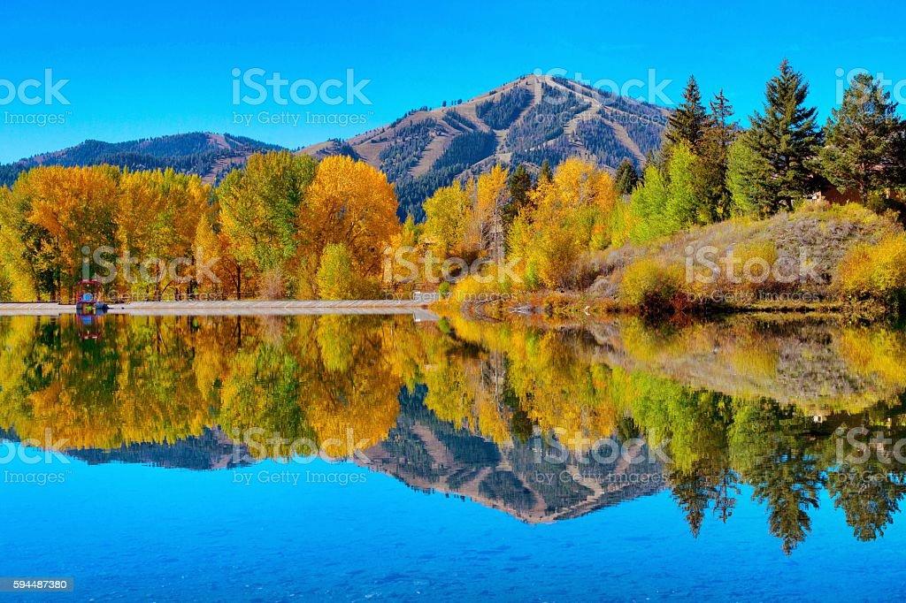 Fall Reflections - Sun Valley, Idaho stock photo