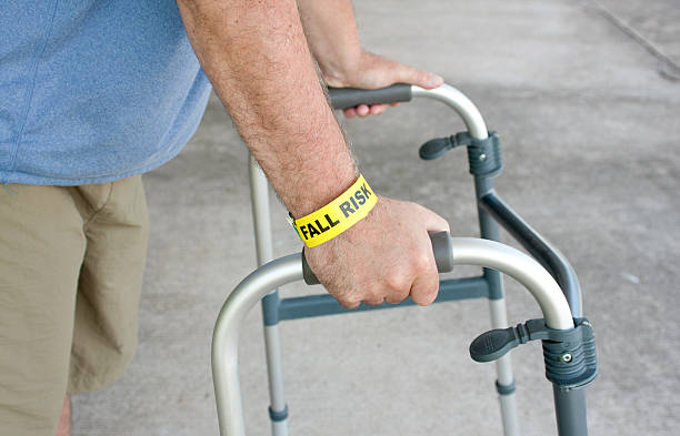 fall risk using a walker - inpatient stock pictures, royalty-free photos & images