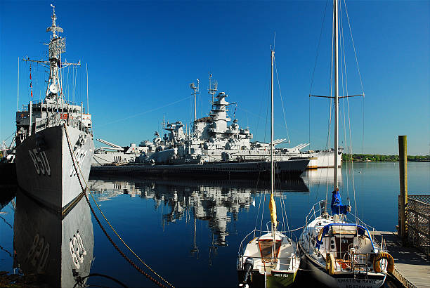 Fall River Battleship Cove stock photo