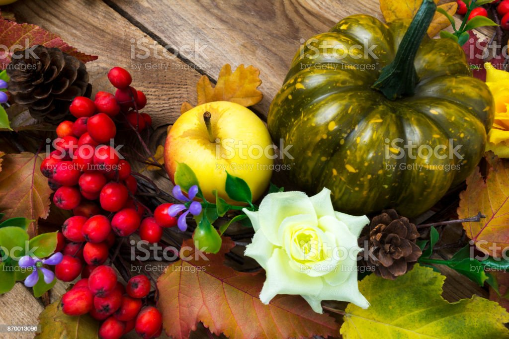 Fall Rustic Background With Colorful Leaves Pumpkin Apple Lilac Flowers And Ripe