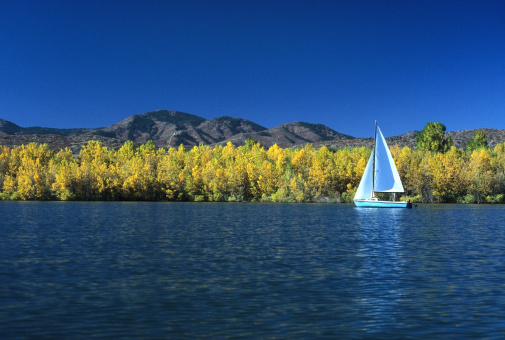 A sailboat on Chatfield Reservoir State Park floats past the yellow trees with the foothills of the Rocky Mountains in the background. Outside Denver, Colorado