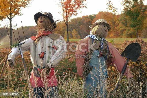 A couple of scarecrows standing within a fall landscape of turning leaves.