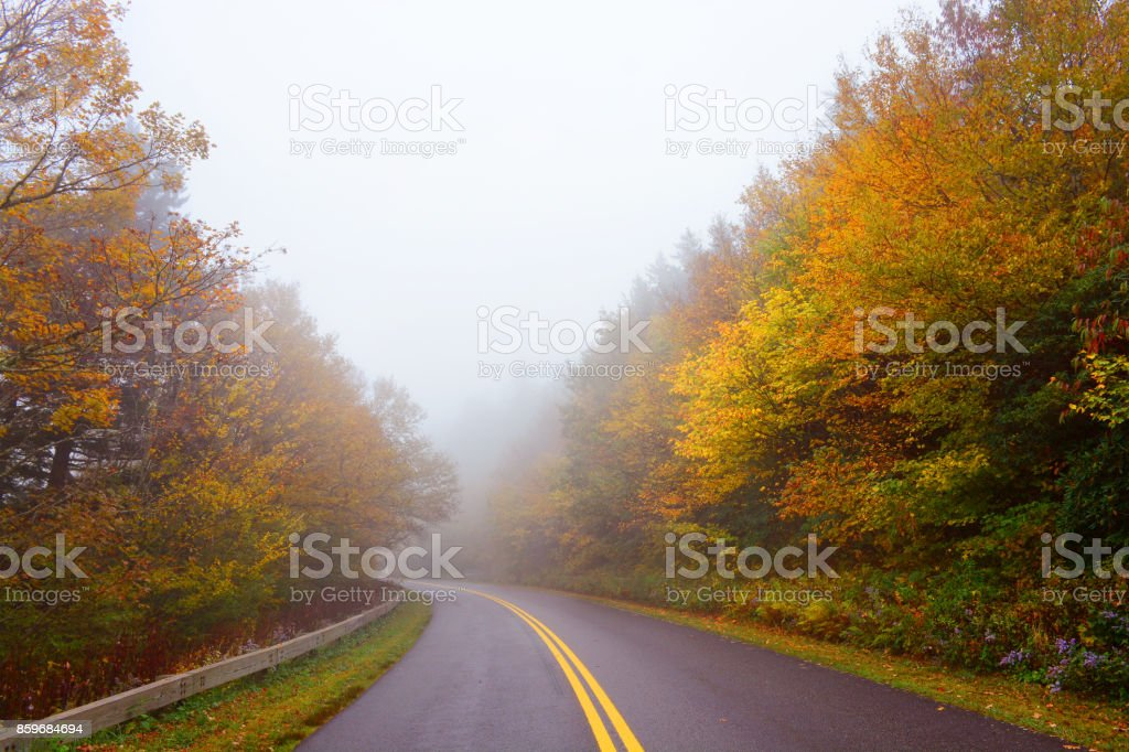 Fall scenic highway in North Carolina mountains. stock photo