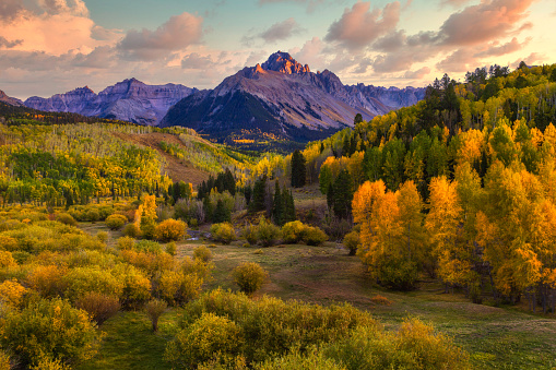 Fall season along the valley below Mt Sneffels in the San Juan Mountain Range outside of Telluride Colorado