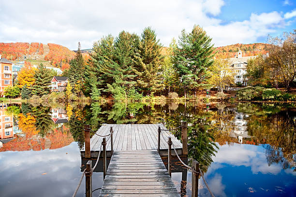 Fall Season in Mont-Tremblant, Quebec, Canada stock photo