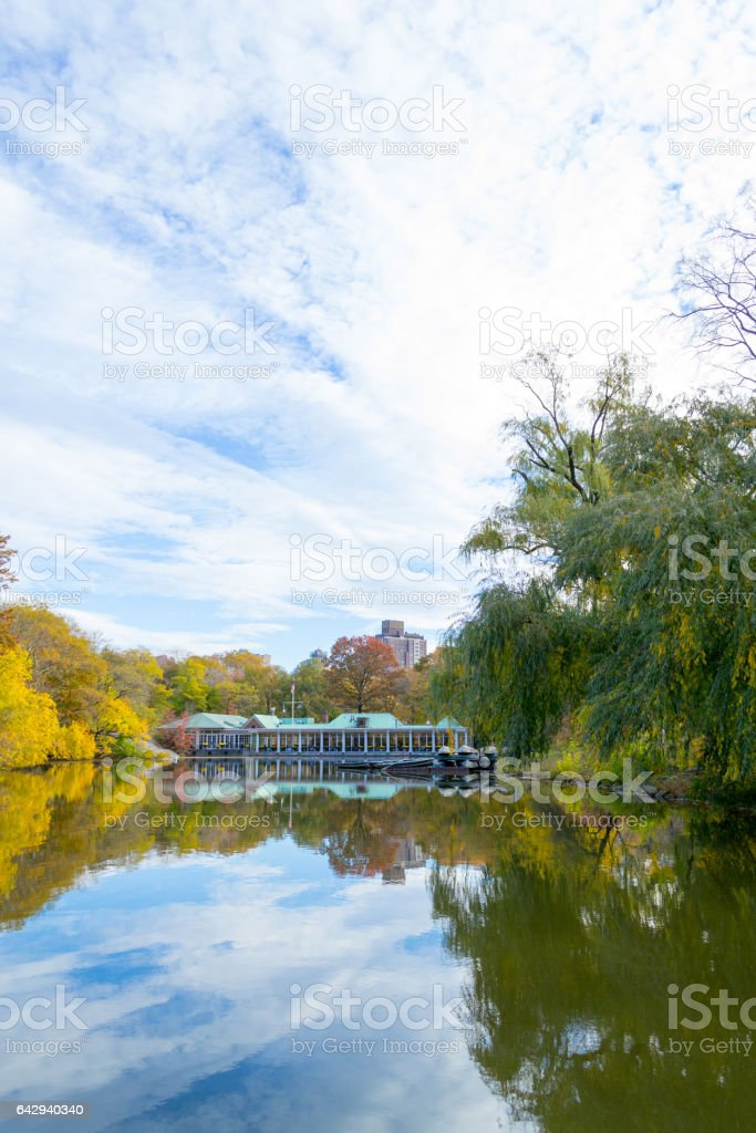 Fall season morning by the Lake in Central Park stock photo