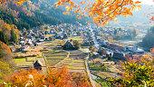 荻町合掌集落白川郷と五箇山、日本の秋のシーズン