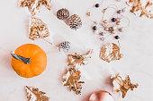 istock Fall season still life with pumpkin on white marble 860318502