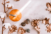 istock Fall season still life with pumpkin on white marble 860318508