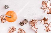 istock Fall season still life with pumpkin on white marble 862079756