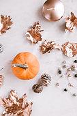 istock Fall season still life with pumpkin on white marble 862079766
