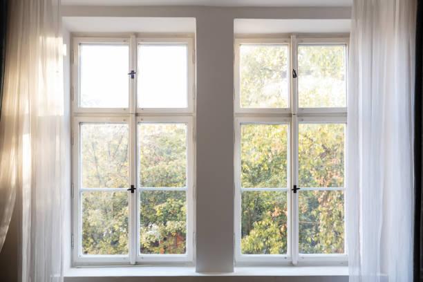 herbst-saison. bäume im herbst blätter aus zwei geschlossene weiße holzfenster. - geschlossene küchen stock-fotos und bilder