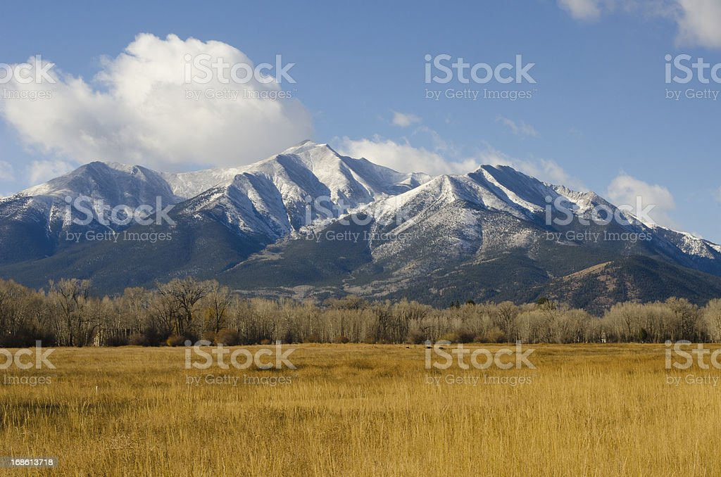 Fall Snow on Mount Princeton stock photo
