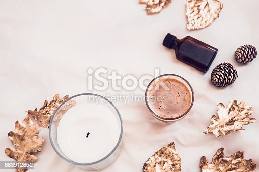 istock Fall spa beauty products flatlay on white 863912852