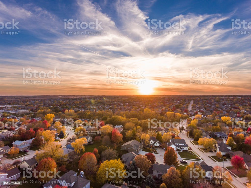 Fall sunset over the neighborhood royalty-free stock photo