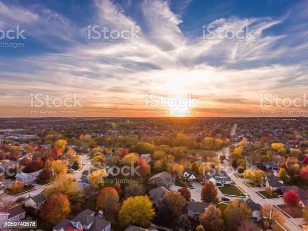 Photo of Fall sunset over the neighborhood