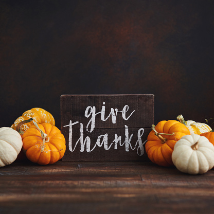 Fall Thanksgiving background with pumpkin assortment and message of thanks