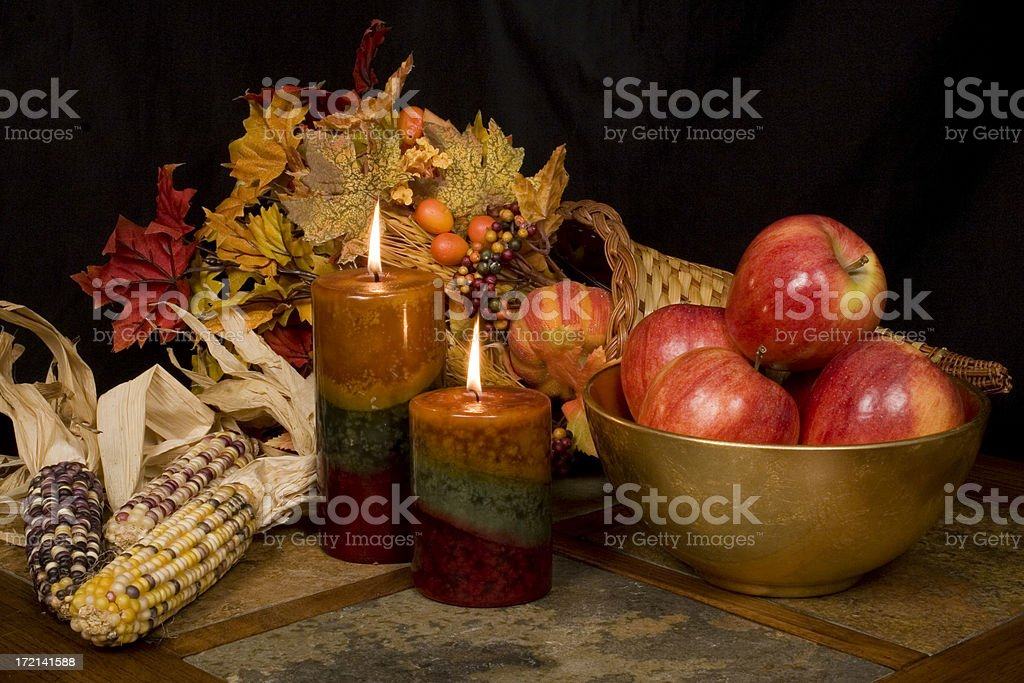 Fall- Thanksgiving candles royalty-free stock photo