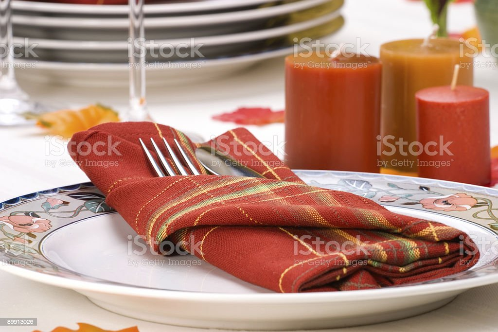 Fall theme dinner table setting royalty-free stock photo