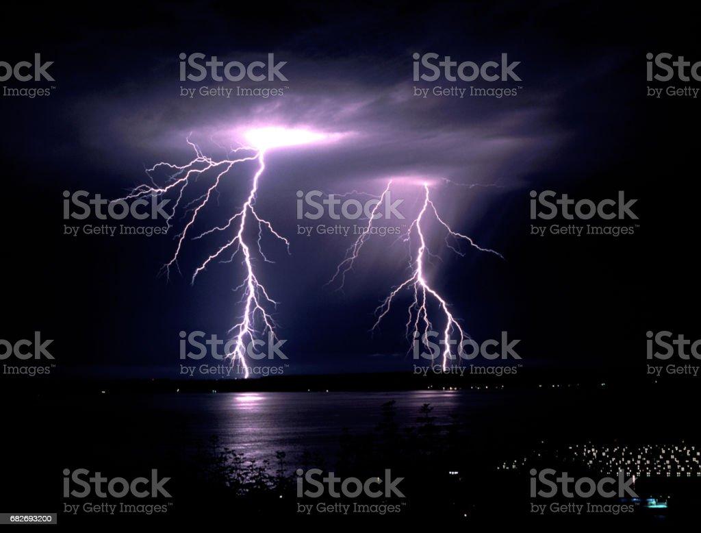 Fall Thunderstorm Late Night Lightning Strike Puget Sound Elliott Bay – Foto