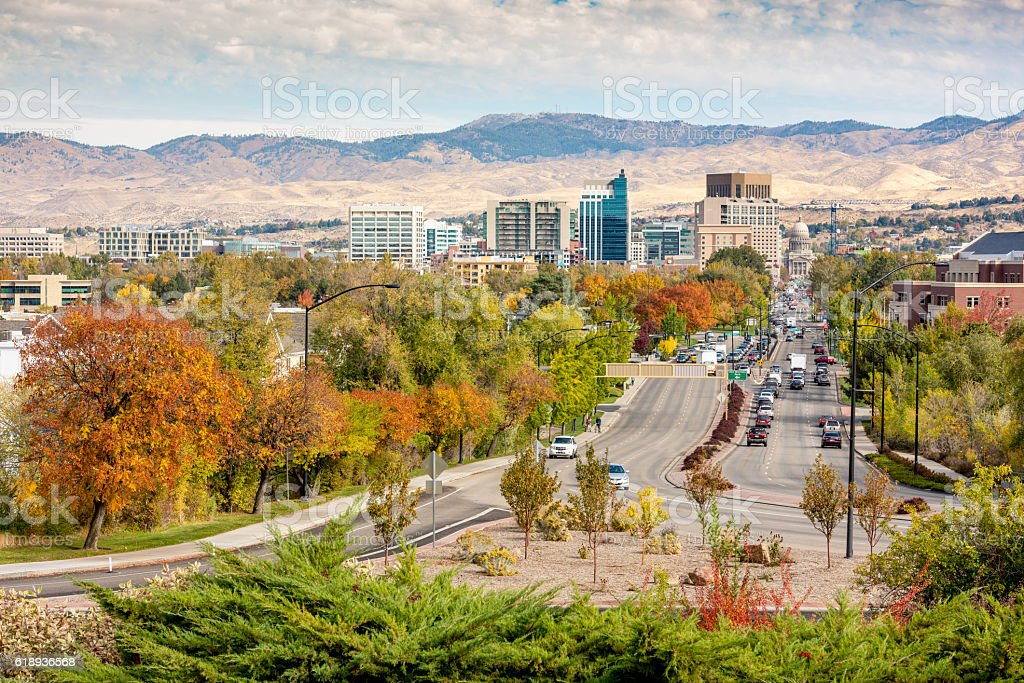 Fall trees line a main street in Boise Idaho stock photo