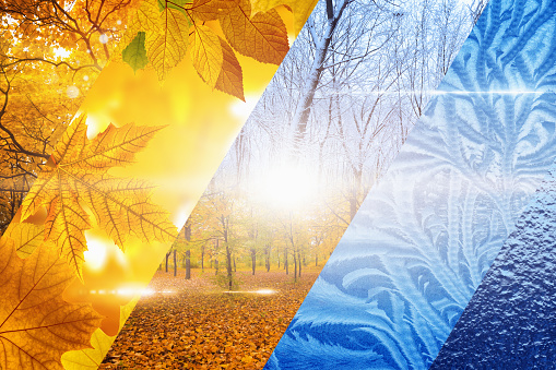 Beautiful nature seasonal background - two seasons of year collage. Vibrant colorful images of different time of year - fall and winter.