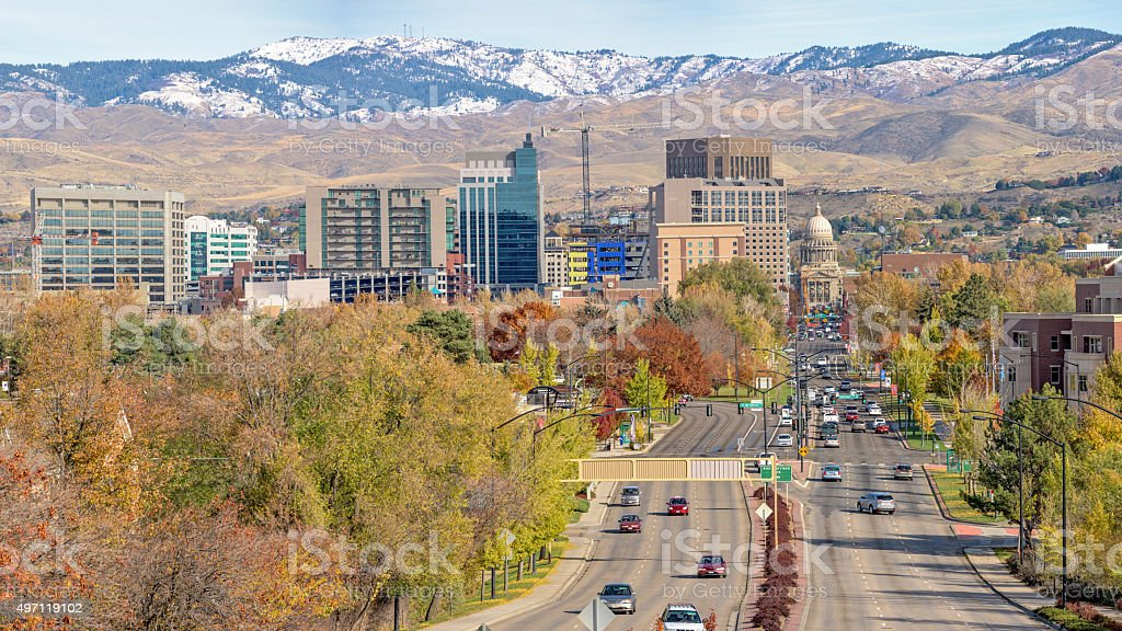 Fall view of Boise Idaho city with capital stock photo