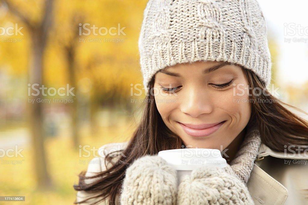 Fall woman drinking coffee royalty-free stock photo